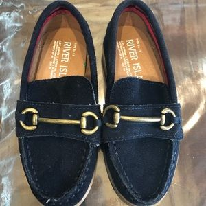 River Island Mini boys navy suede loafers size 8
